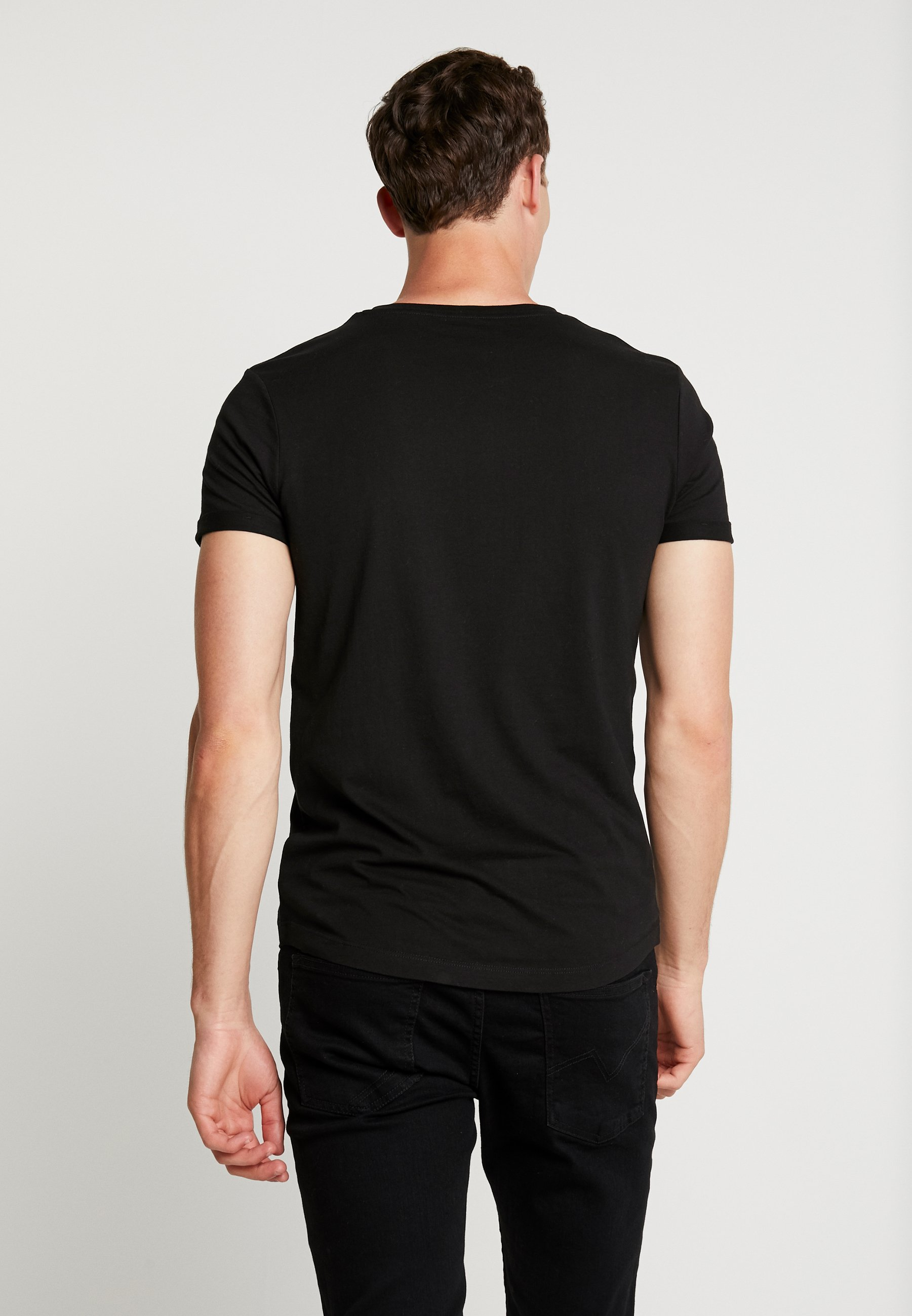 TOM TAILOR DENIM W. TURNUP - Print T-shirt - black/grey HaxJf