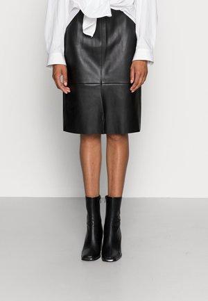 SKIRT VICTORIA - Kožená sukně - black