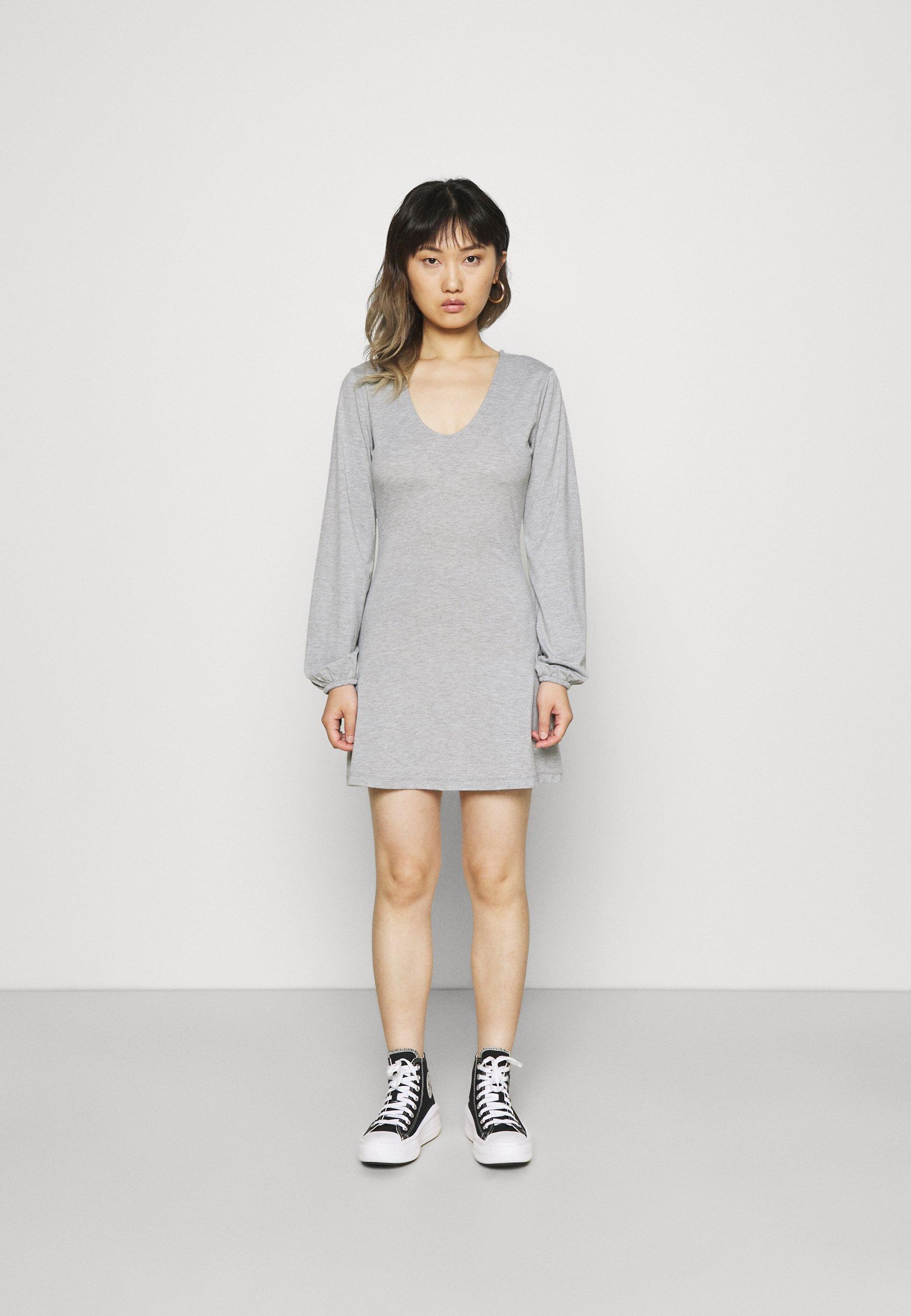 Damen V NECK BALOON SLEEVE SKATER DRESS - Jerseykleid