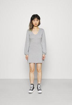 V NECK BALOON SLEEVE SKATER DRESS - Sukienka z dżerseju - grey marl