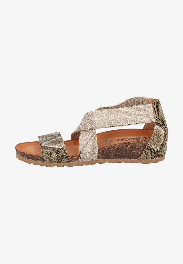 Sandalen met sleehak - verde
