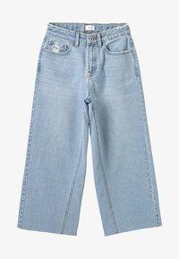 Grunt - WIDE LEG CROP  - Široké džíny - mid blue - 3