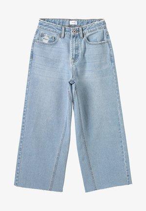 WIDE LEG CROP  - Flared jeans - mid blue