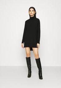 Gestuz - THELMA ROLLNECK - Jumper dress - black - 0