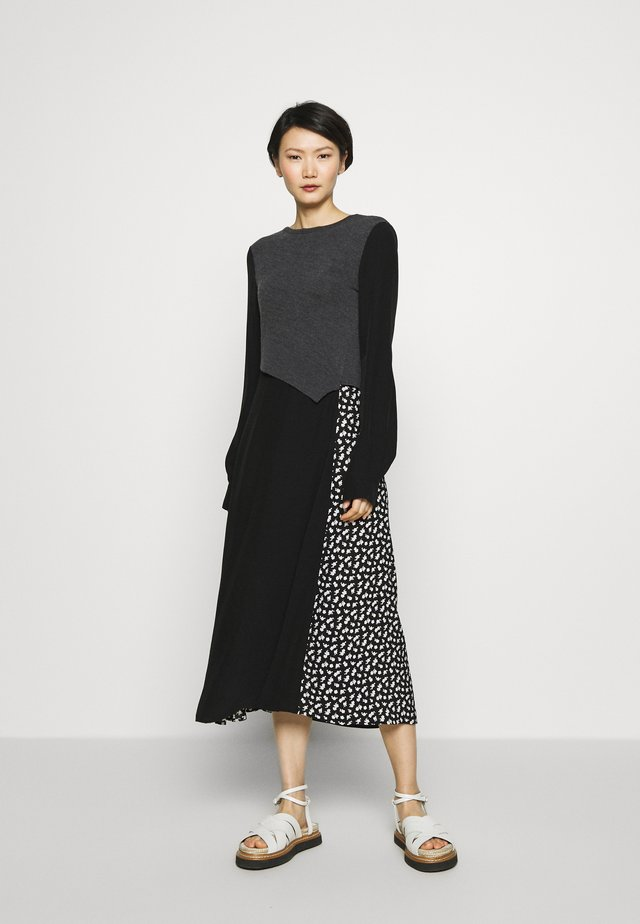 KNIT HYBRID DRESS - Day dress - black