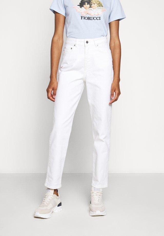 TARA ANGELS PATCH - Straight leg -farkut - white