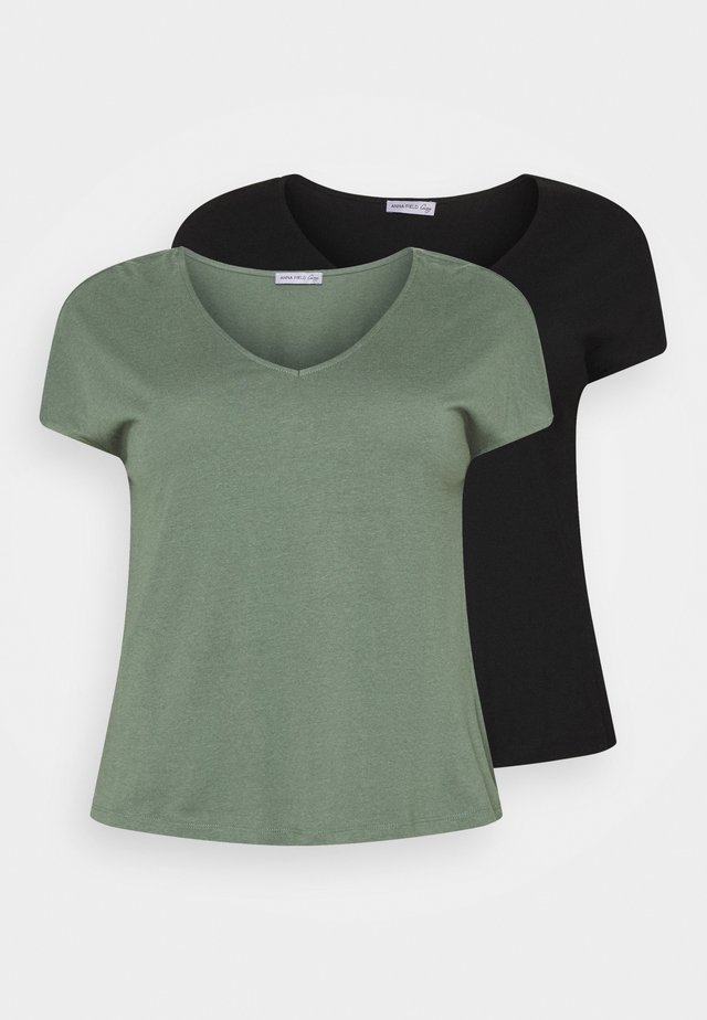 2 PACK - T-shirts basic - black/green