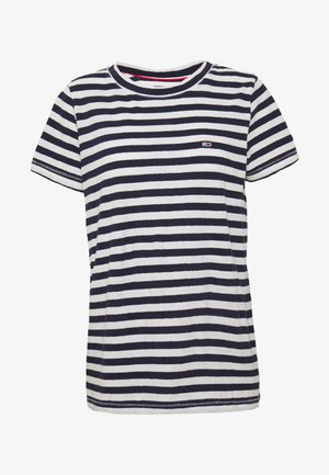 TEXTURED STRIPE TEE - Print T-shirt - twilight navy / white