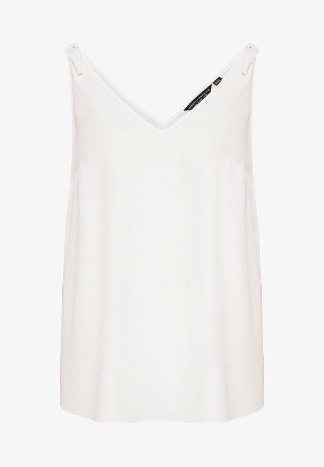 CURVE TIE SHOULDER WHITE VEST - Blouse - white