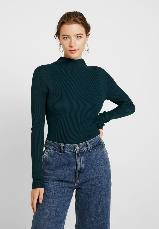 CONTRAST ROLL NECK JUMPER - Pullover - dark green
