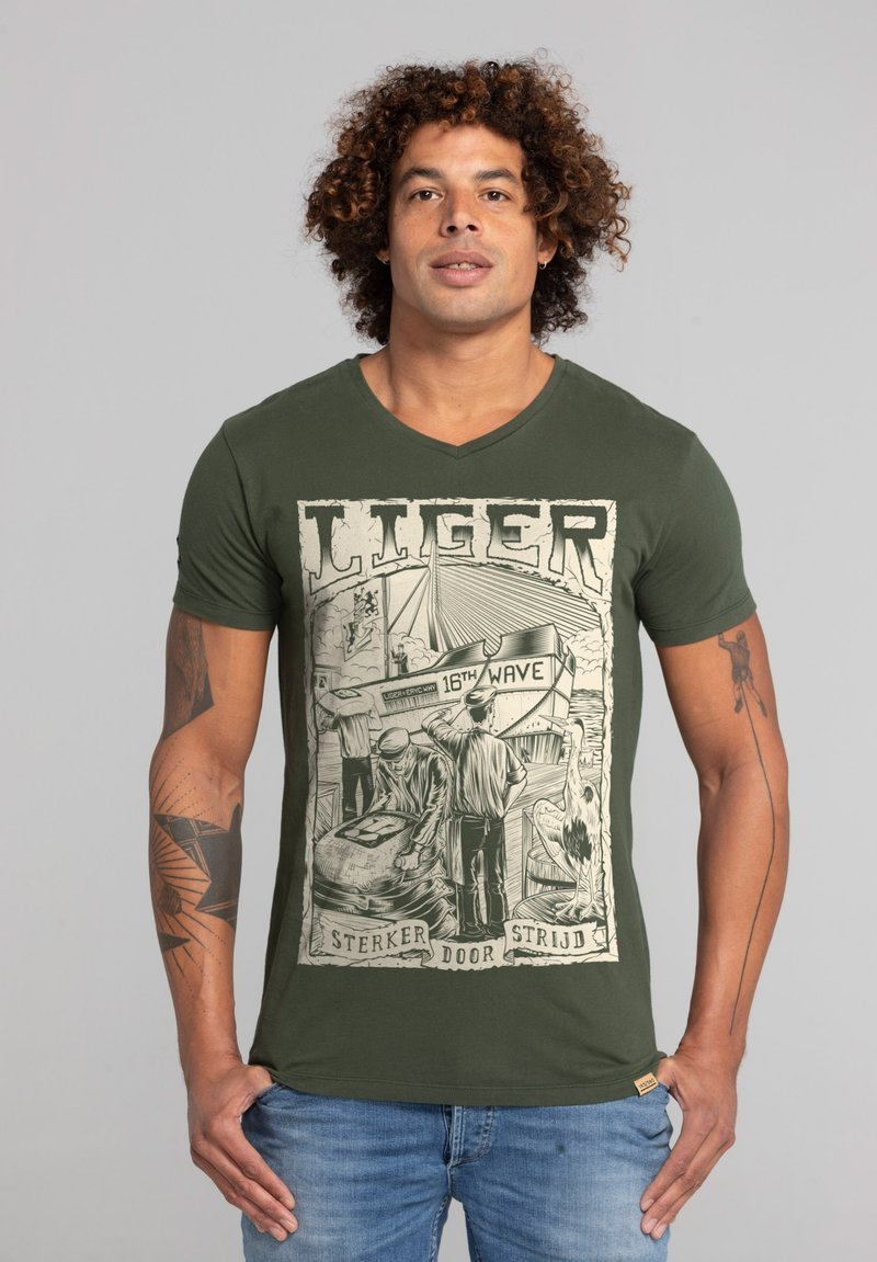 Liger - LIMITED TO 360 PIECES - ERYC WHY - ROTTERDAM - Print T-shirt - military green