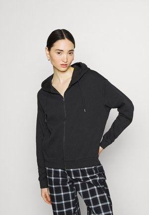 Zip through hooded jacket - Zip-up hoodie - black