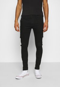 Jack & Jones - JJILIAM JJCARGO  - Cargobyxor - black denim - 0