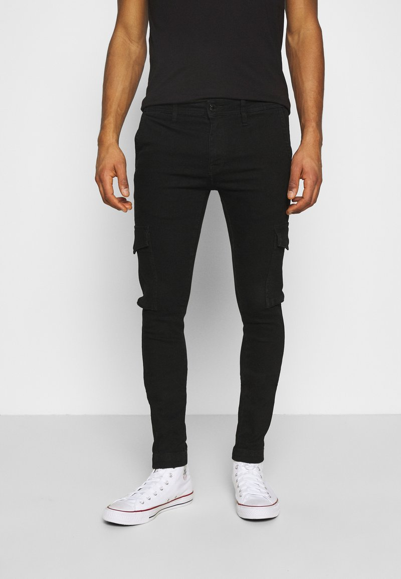 Jack & Jones - JJILIAM JJCARGO  - Cargobyxor - black denim