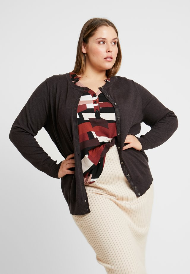 CARDIGAN O NECK SLEEVES - Cardigan - dark grey