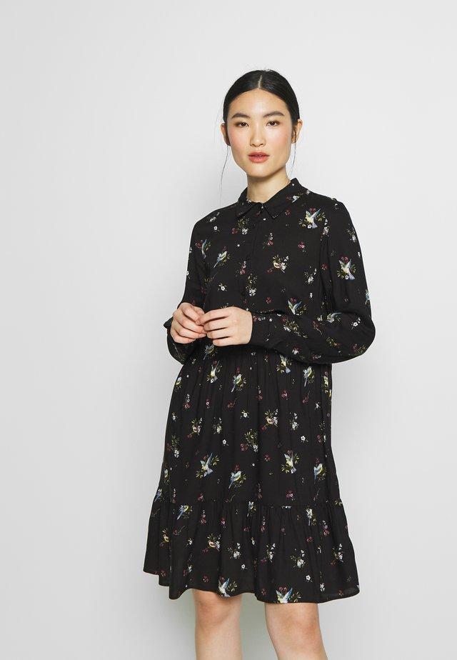 BIRD PRINT FRILL HEM DRESS - Vapaa-ajan mekko - black