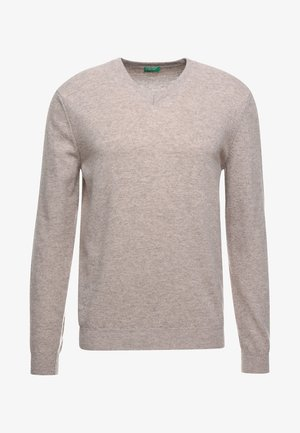 BASIC V NECK - Jumper - beige