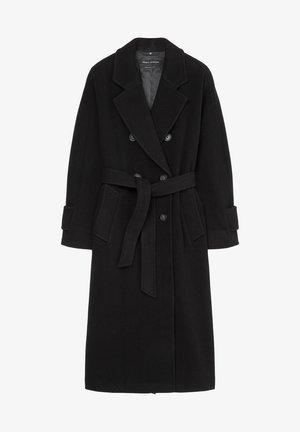 COAT LONG WELT POCKETS BELT - Classic coat - black