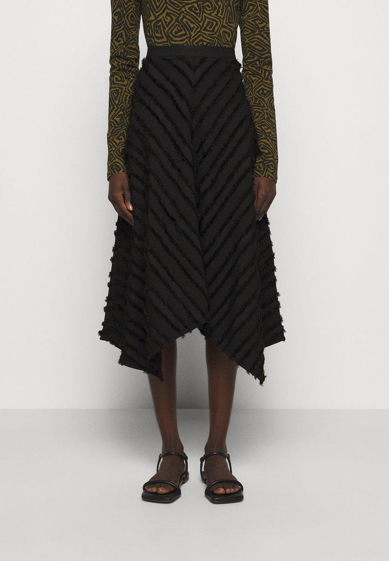 Proenza Schouler White Label - FRINGE FIL COUPE SKIRT - A-line skirt - black