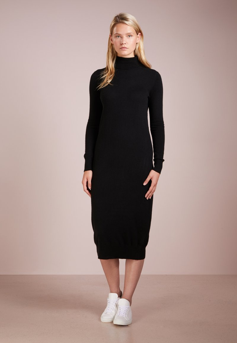 pure cashmere - TURTLENECK DRESS - Maxi šaty - black