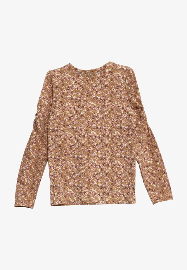 Long sleeved top - caramel flowers
