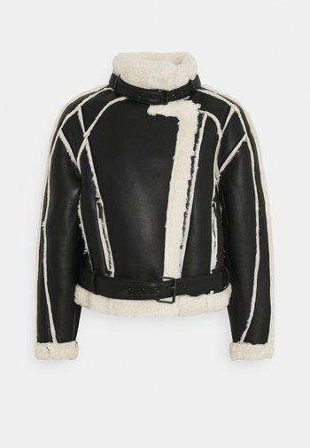 PREMIUM BORG BELTED AVIATOR - Winter jacket - black
