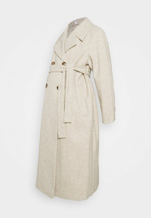 DOUBLE BREASTED FASHION WRAP COAT - Classic coat - ivory