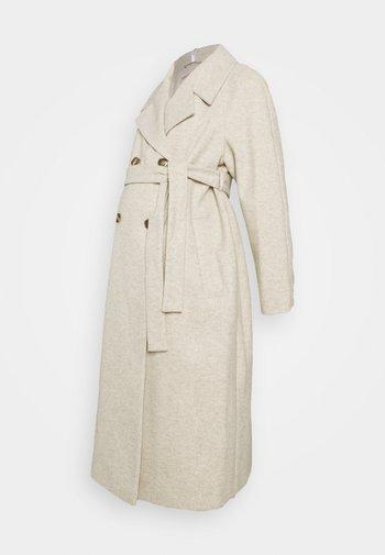 DOUBLE BREASTED FASHION WRAP COAT - Classic coat - ivory