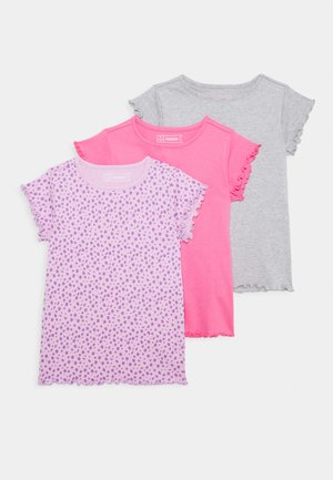3 PACK - Basic T-shirt - purple/grey/pink