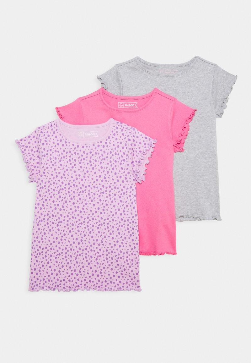 Friboo - 3 PACK - T-shirts - purple/grey/pink