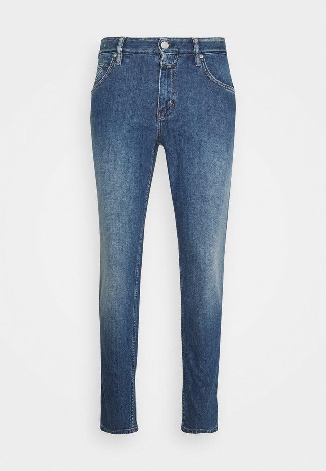 DROP CROPPED - Jean slim - mid blue