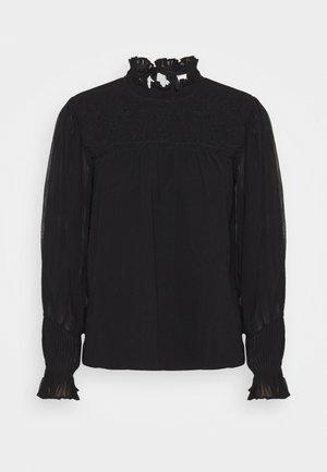 BEADED YOKE NECK BLOUSE - Long sleeved top - black