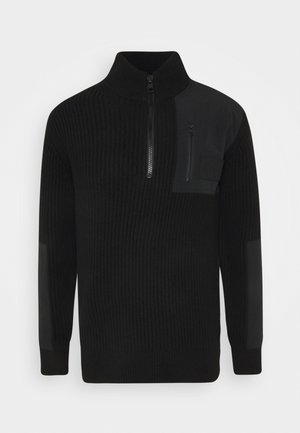 UTILITY HALF ZIP SWEATER - Sweter - black