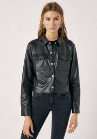 PULL&BEAR - Faux leather jacket - mottled black - 0