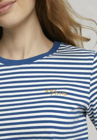 TOM TAILOR DENIM - Long sleeved top - indigo blue creme stripe - 2