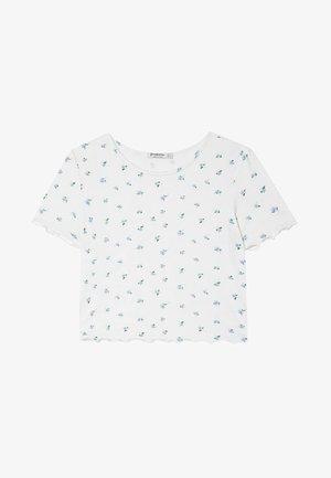WITH LETTUCE-EDGE TRIMS - Print T-shirt - white