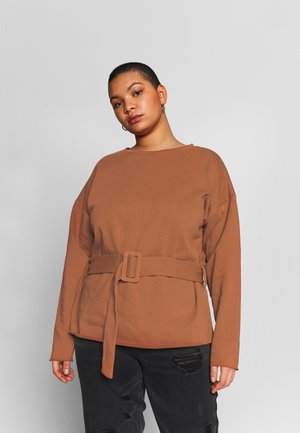 BELTED - Sweatshirt - rust brown