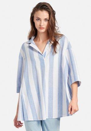 Blouse - weiß/blau-melange