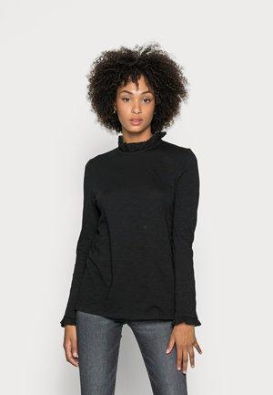 SLUB FRILL LONGSLEEVE - Long sleeved top - black