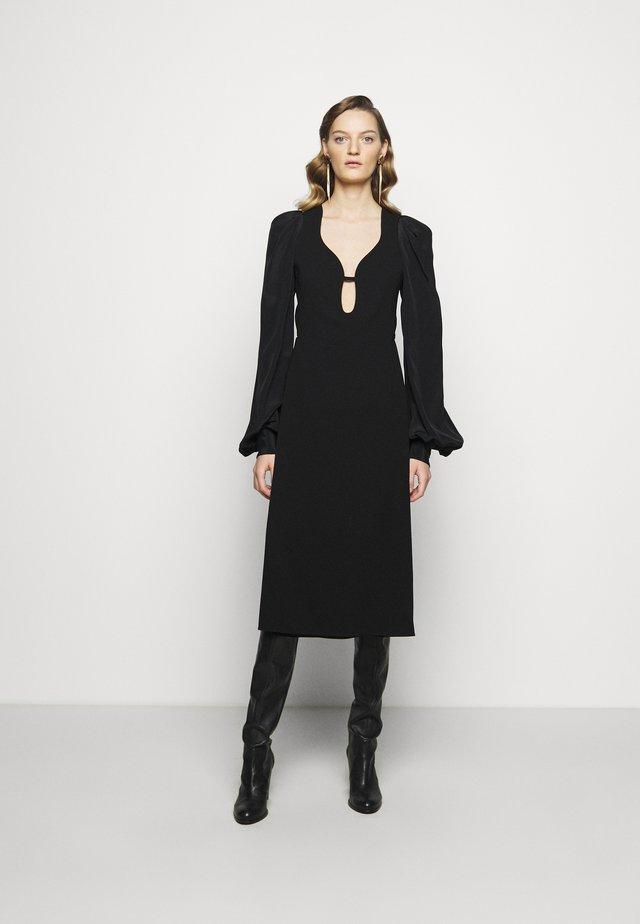 LONG SLEEVE KEYHOLE MIDI - Vestito elegante - black