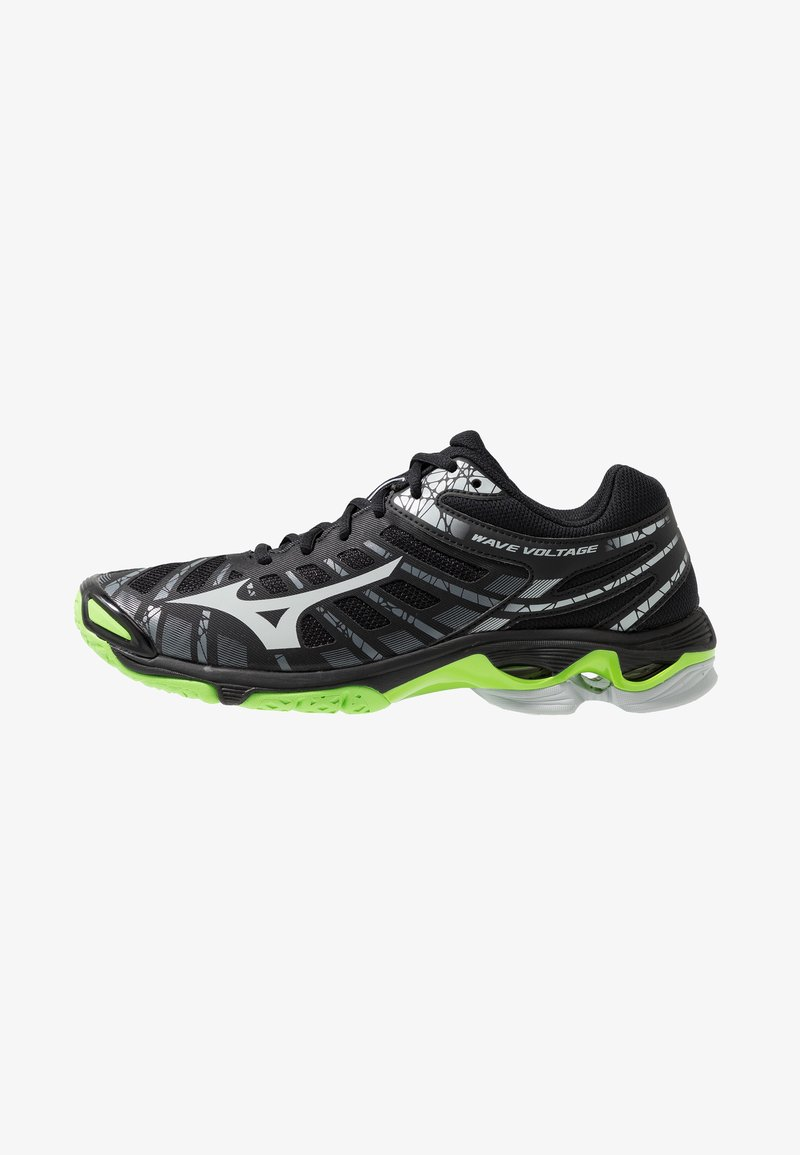 Mizuno - WAVE VOLTAGE - Volleyball shoes - black/high rise/green gecko