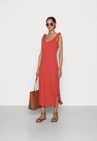 edc by Esprit - TIE DRESS - Jersey dress - terracotta - 1