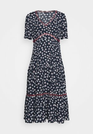 PRINTED TRIM DRESS - Day dress - twilight navy