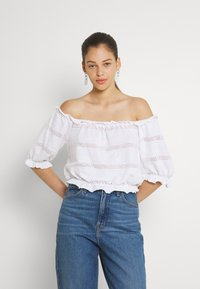 Pieces - PCTAYLEE CROPPED - Print T-shirt - bright white - 0