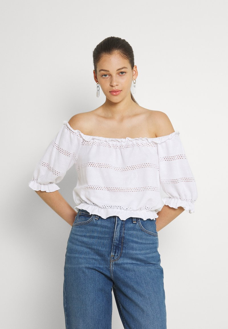 Pieces - PCTAYLEE CROPPED - Print T-shirt - bright white