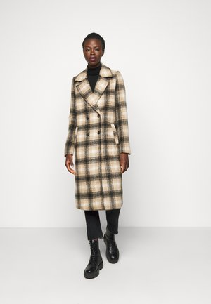 VMHAILEY CHECK LONG JACKET - Classic coat - tobacco brown/black/oatmeal