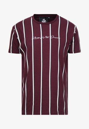 Print T-shirt - burgundy/white/navy