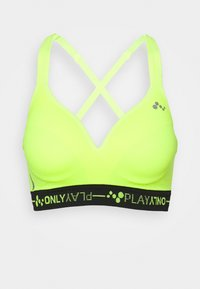 ONLY Play - ONPJINDY CIRCULAR RACERBACK SPORTS - Sports-BH-er med lett støtte - safety yellow/black - 3