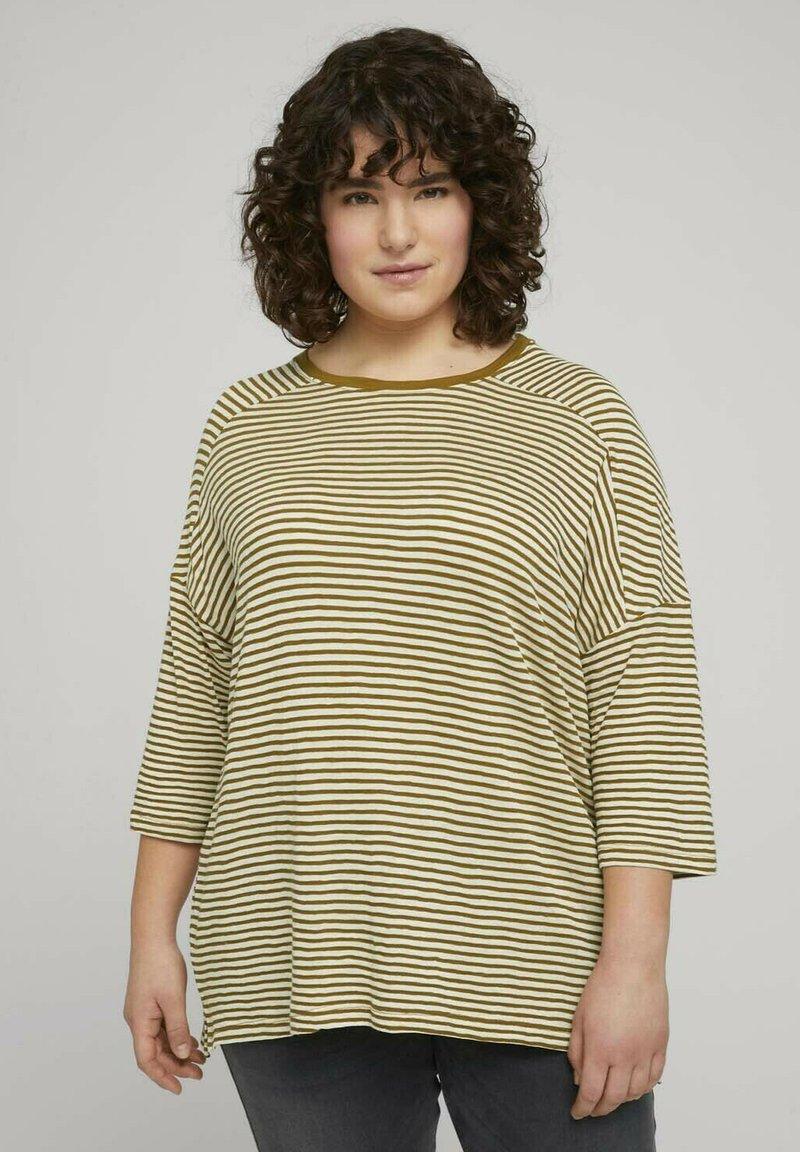 MY TRUE ME TOM TAILOR - MIT STREIFEN - Long sleeved top - ecru umber stripe