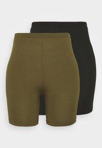 Vila - VIBE BIKER 2 PACK - Shorts - black/dark olive - 0